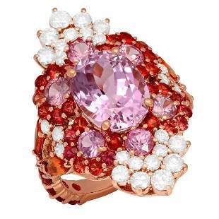 14k Rose Gold 5.01ct Kunzite 6.80ct Sapphire 1.48ct