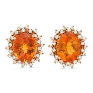 14K Gold 11.41ct Citrine 1.38cts Diamond Earrings