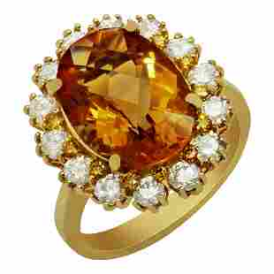 14k Yellow Gold 4.82ct Citrine 1.32ct Diamond Ring