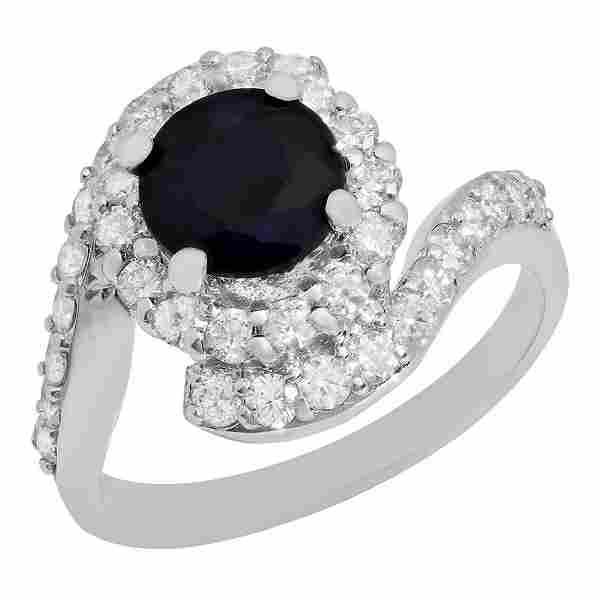 14k White Gold 1.74ct Sapphire 1.09ct Diamond Ring