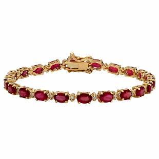 14k Yellow Gold 11.65ct Ruby 0.61ct Diamond Bracelet