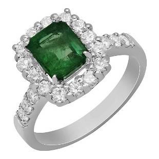 14k White Gold 1.20ct Emerald 0.87ct Diamond Ring