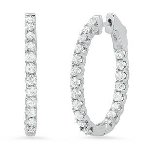 14K White Gold Setting with 2.80ct Diamond Earrings