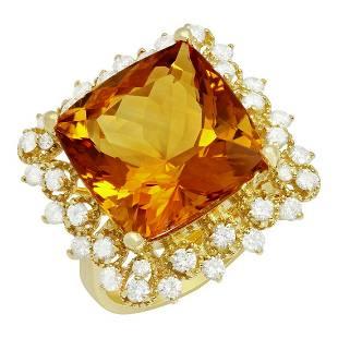 14k Yellow Gold 12.62ct Citrine 0.97ct Diamond Ring