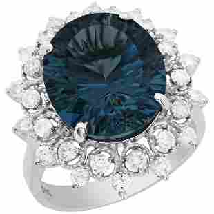 14k White Gold 9.88ct Blue Topaz 0.93ct Diamond Ring