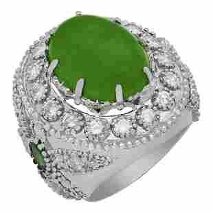 14k White Gold 9.31ct Jade 0.60ct Emerald 1.94ct