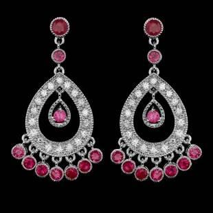 14k Gold 3.22ct Ruby 1.29ct Diamond Earrings