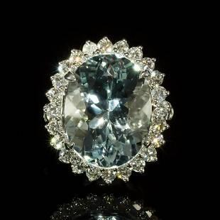 14K White Gold 12.02ct Aquamarine 1.65ct Diamond Ring