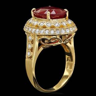 14K Yellow Gold 6.37ct Ruby and 0.78ct Diamond Ring