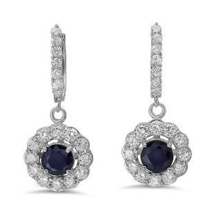 14K Gold 2.51ct Sapphire 2.31 Diamond Earrings