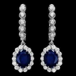 14K White Gold 5.32ct Sapphire and 1.06ct Diamond