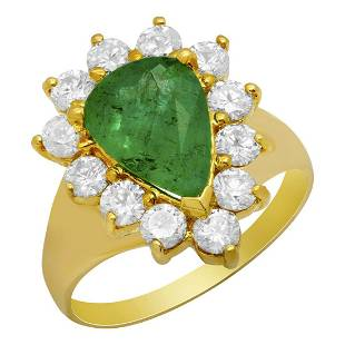 14k Yellow Gold 1.89ct Emerald 1.19ct Diamond Ring