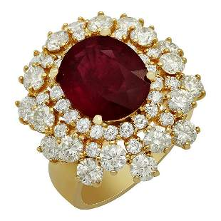 14k Yellow Gold 5.31ct Ruby 3.51ct Diamond Ring