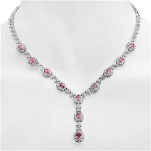18K Gold 7.89ct Pink Sapphire 7.42ct Diamond Necklace