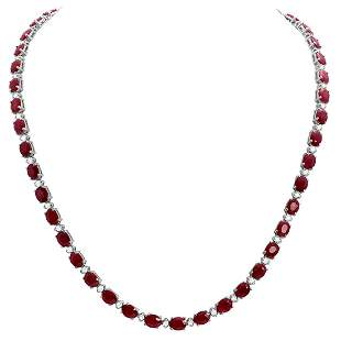 14k White Gold 38.51ct Ruby 1.49ct Diamond Necklace