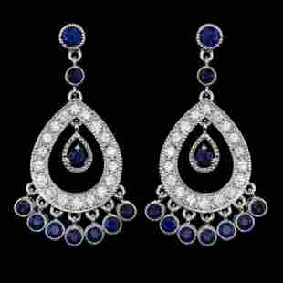 14k Gold 2.81ct Sapphire 1.56ct Diamond Earrings