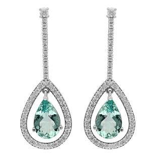 14k White Gold 7.21ct Aquamarine 1.33ct Diamond