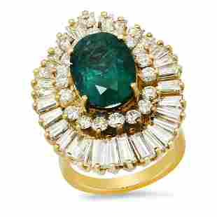 14K Yellow Gold with 4.56ct Emerald and 7.02ct Diamond