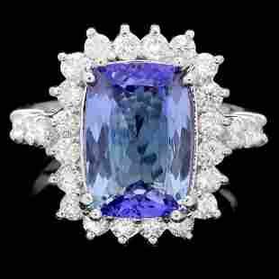 14K White Gold 4.10ct Tanzanite and 1.04ct Diamond Ring