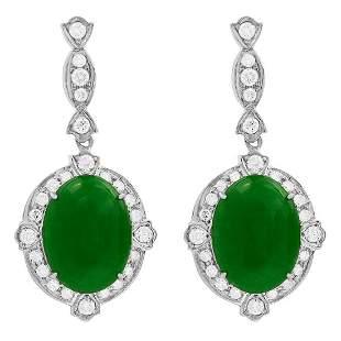 14k White Gold 12.56ct Jade 1.68ct Diamond Earrings