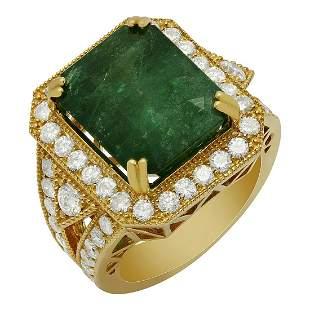 14k Yellow Gold 10.14ct Emerald 2.09ct Diamond Ring