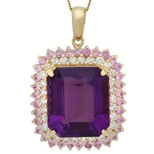 14K Gold 25.29ct Amethyst 2.0ct Pink Sapphire 1.56ct