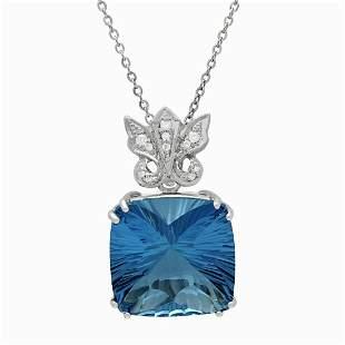 14k White Gold 39.09ct Blue Topaz 0.17ct Diamond
