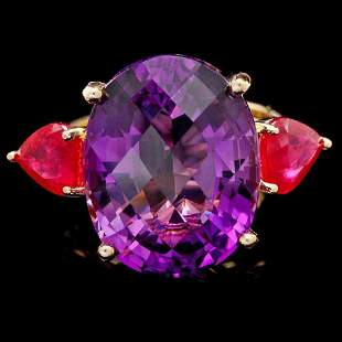 14K Yellow Gold 14.57ct Amethyst and 2.91ct Ruby Ring