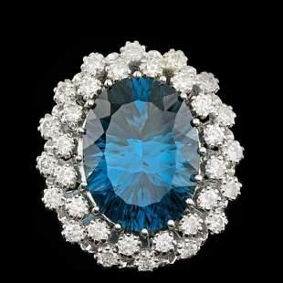 14K White Gold 11.75ct Blue Topaz and 1.51ct Diamond