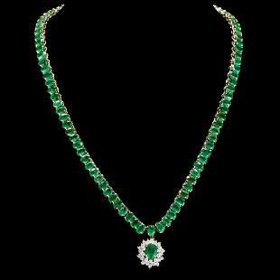14k Yellow Gold 41.86ct Emerald 1.58ct Diamond Necklace