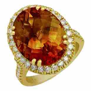 14k Yellow Gold 10.26ct Citrine 0.89ct Diamond Ring