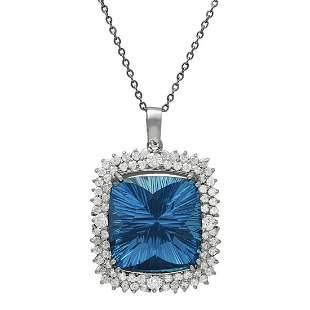 14k White Gold 42.10ct Blue Topaz 3.10ct Diamond