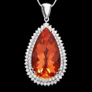 14K Gold 30.12ct Morganite 3.10ct Diamond Pendant