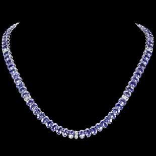 14K White Gold 52.80ct Tanzanite and 1.75ct Diamond