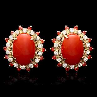 14K Yellow Gold 7.84ct Coral 0.76ct Sapphire and 0.78ct