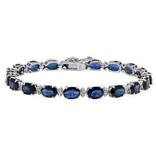 14k White Gold 16.85ct Sapphire 0.60ct Diamond Bracelet