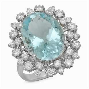 14K White Gold 8.19ct Aquamarine and 1.25ct Diamond