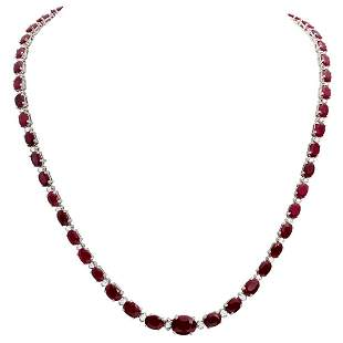 14k White Gold 30.47ct Ruby 1.31ct Diamond Necklace