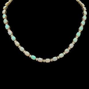 14K Gold 24.73ct Opal 2.21ct Diamond Necklace