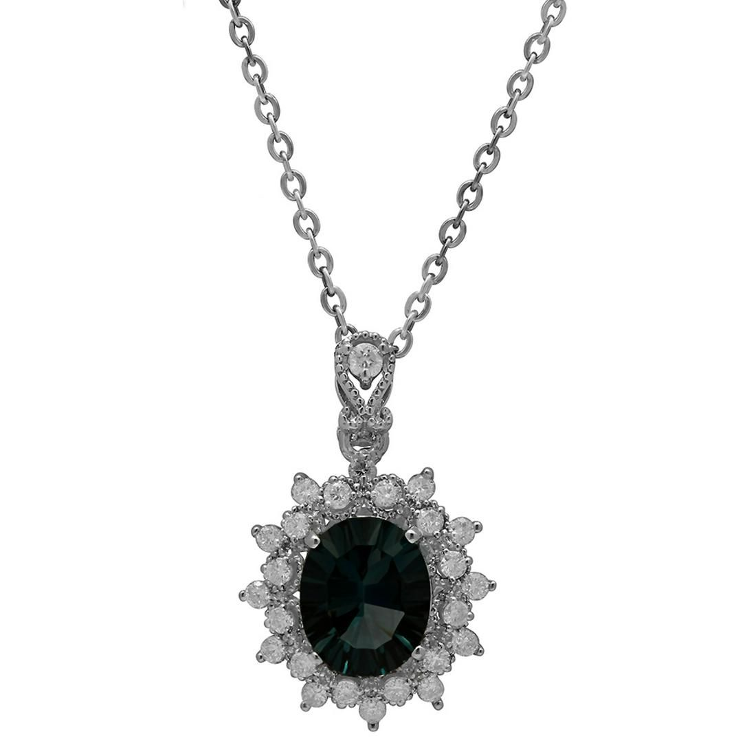14k White Gold 2.91ct Blue Topaz 0.54ct Diamond Pendant