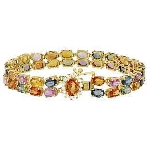 14k Yellow Gold 27.26ct Sapphire 0.44ct Diamond