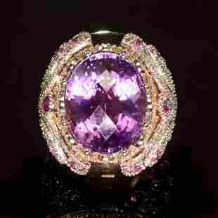 14K Rose and White Gold 16.01ct Amethyst 1.08ct