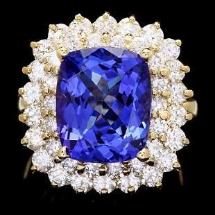 14K Yellow Gold 6.83ct Tanzanite and 2.48ct Diamond