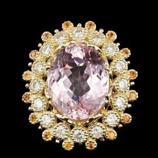14K Yellow Gold 16.64ct Kunzite 0.72ct Sapphire and