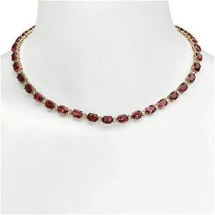 14K Gold 44.90ct Tourmaline 2.00ct Diamond Necklace