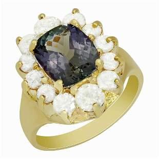 14k Yellow Gold 2.69ct Tanzanite 1.59ct Diamond Ring