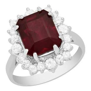 14k White Gold 6.14ct Ruby 0.75ct Diamond Ring