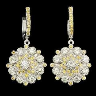 14k Gold 1.27ct Diamond 3.53ct Sapphire Earrings
