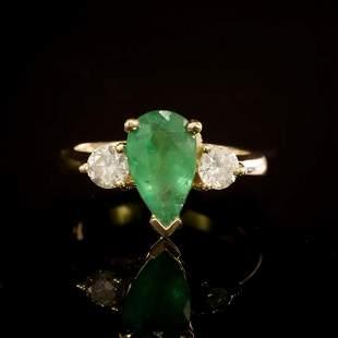 14K Yellow Gold 1.41ct Emerald and 0.58ct Diamond Ring