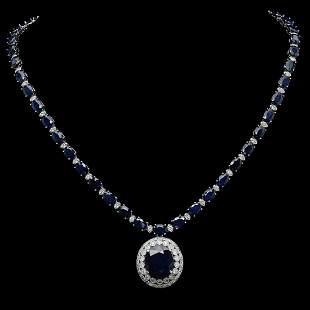 14K Gold 51.02 ct Sapphire & 3.31 ct Diamond Necklace